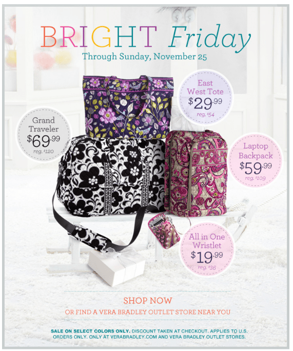 Vera Bradley: Bright Friday Sale {30% off sitewide + FREE Shipping}