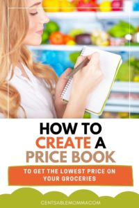lady making a list of grocery prices in a notebook