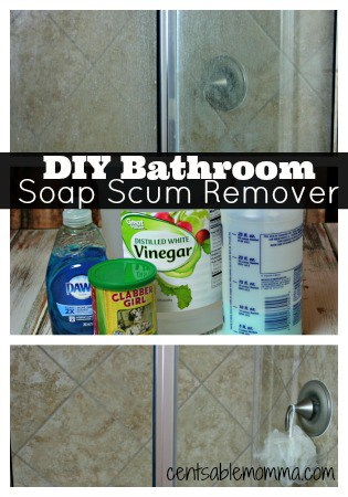 Use this DIY Bathroom Soap Scum Remover to take your shower from gross to sparkling with ingredients you already have at home!