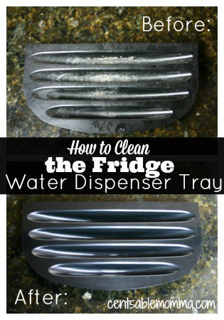 Easily clean your refrigerator water dispenser tray with just 1 ingredient and no scrubbing!