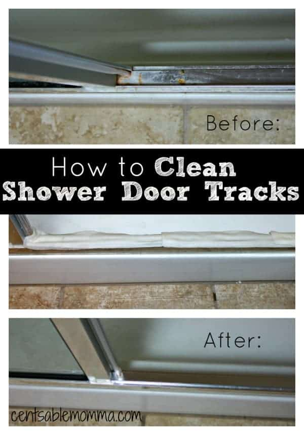 Do you have hard water stains and soap scum gunk on your shower door tracks? Easily clean them with this trick! vinegar | cleaning tips
