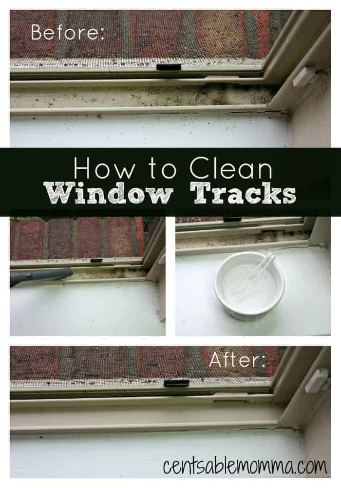 With just a little vinegar and some Q-tips, you can clean all the dirt out of your Window Tracks.  Super simple!  Check out these tips to find out how to make the job easy.