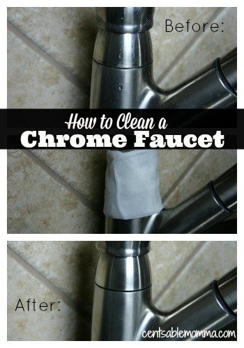 Just 1 simple household ingredient needed to clean the hard water deposits and gunk off a chrome faucet.