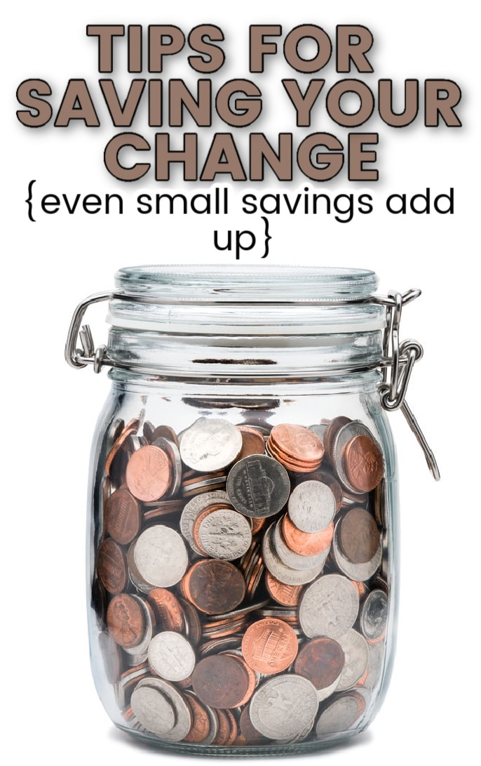 coins in a clear glass jar with text overlay, saying
