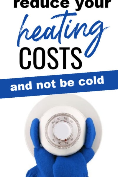thermostat with a scarf around it with text overlay.
