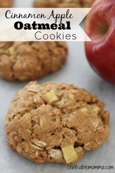 You can almost taste fall with every bite of this Cinnamon Apple Oatmeal Cookies Recipe.