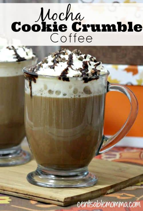 Warm up this fall and winter a gourmet hot Mocha Cookie Crumble Coffee at home with this recipe that's easy to make at home.
