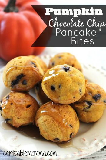 Fix your pumpkin craving with these Pumpkin Chocolate Chip Pancake Bites - easy to make with just a hint of pumpkin, chocolate, and fall spices and yummy for breakfast.