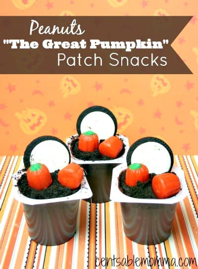 Relive It's the Great Pumpkin, Charlie Brown with these Peanuts The Great Pumpkin Patch Snacks. They're easy to create with pudding packs, Oreos, and candy pumpkins