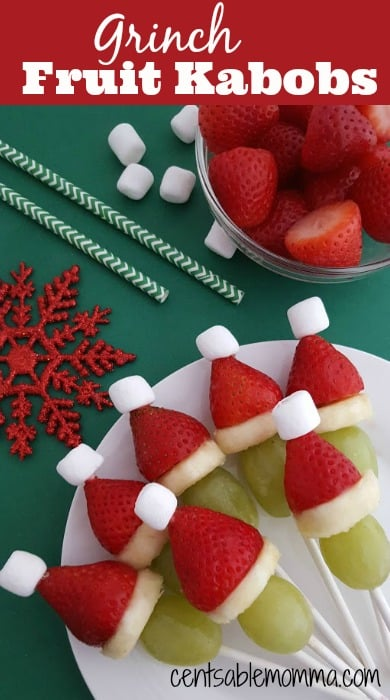 Help make the holidays a little bit healthier with these Grinch Fruit Kabobs. They are perfect to have ready-made for a party, or you can set out the ingredients and let your kids have fun making them. They are so cute and based off the book/movie, How the Grinch Stole Christmas.