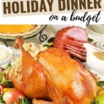 holiday dinner on the table with a cooked turkey, ham, and pie
