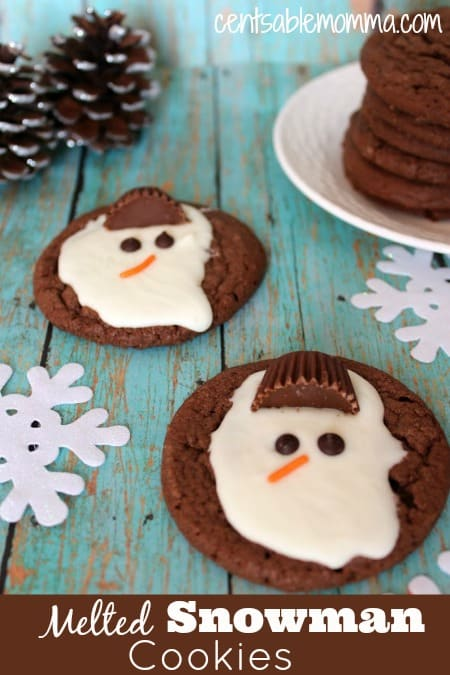 If you're looking for a fun Christmas cookie idea or something to create for a home or class party, these Melted Snowman cookies are a fun idea.  You can pre-make the cookies and let the kids add the toppings later or just serve the cookies at a party already made.