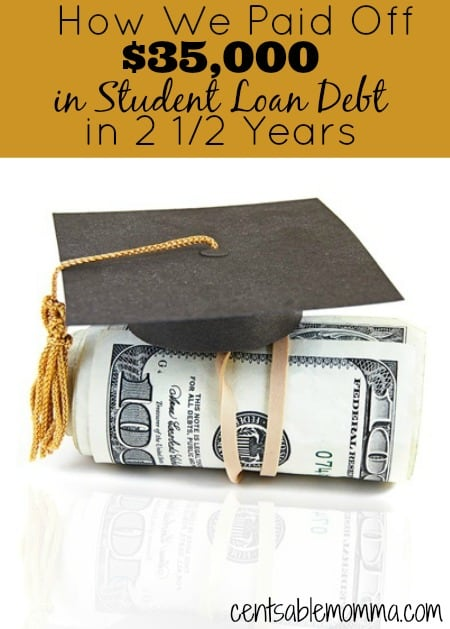 Think it's impossible to pay off debt?  Find out how we paid off $35,000 in student loan debt in only two and a half years.  Plus, check out my best tips to help you pay off your debt quickly too.