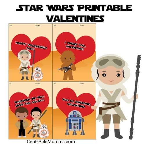 If you have a child who loves Star Wars, you're going to want to check out these FREE printable Star Wars Valentine's Day cards.  Just print out on cardstock, and you're ready to go!