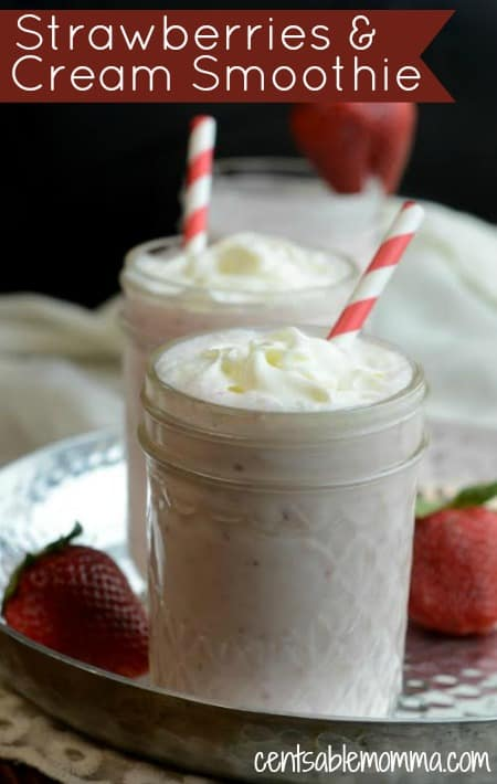 If you're looking for a healthy smoothie recipe made using fresh fruit and plain yogurt, you'll love this delicious Strawberries and Cream Smoothie recipe.