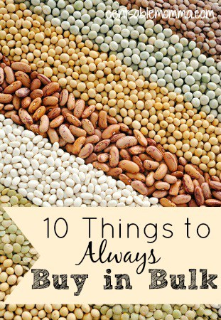 You can save money on food, toiletries, and household goods by buying in bulk.  Check out these 10 things to always buy in bulk to save money.