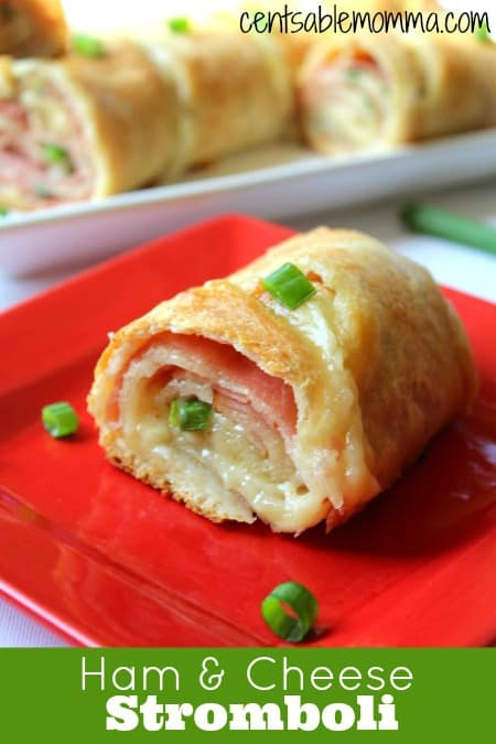 Make sandwich night fancier or create this fun Ham & Cheese Stromboli for a game party.  It's easy to make with just ham, cheese, and a tube of French loaf.