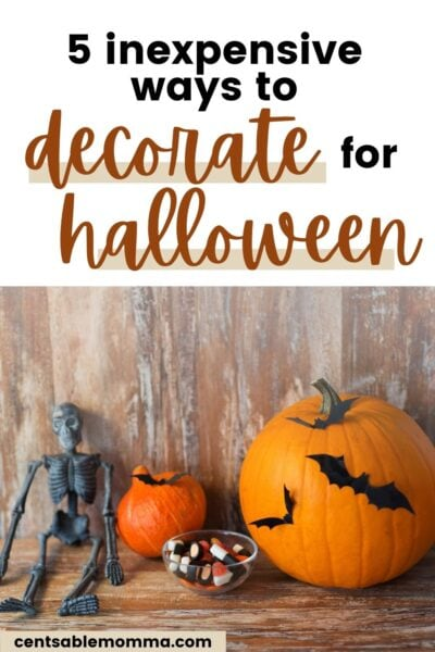 Halloween decorations with text overlay.