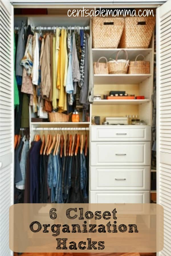 Whether you have a large or small closet, you can get it under control and organized with these 6 closet organization hacks. No need to buy lots of new organizational systems with these cheap and inexpensive tips and ideas.