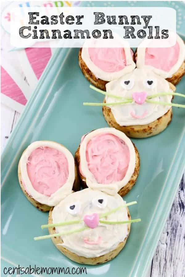 Create these super cute Easter Bunny Cinnamon Rolls for breakfast or brunch on Easter morning. Made with bought cinnamon rolls dough and cream cheese frosting, this recipe is easy and fun to create for both kids and adults and a great menu idea.