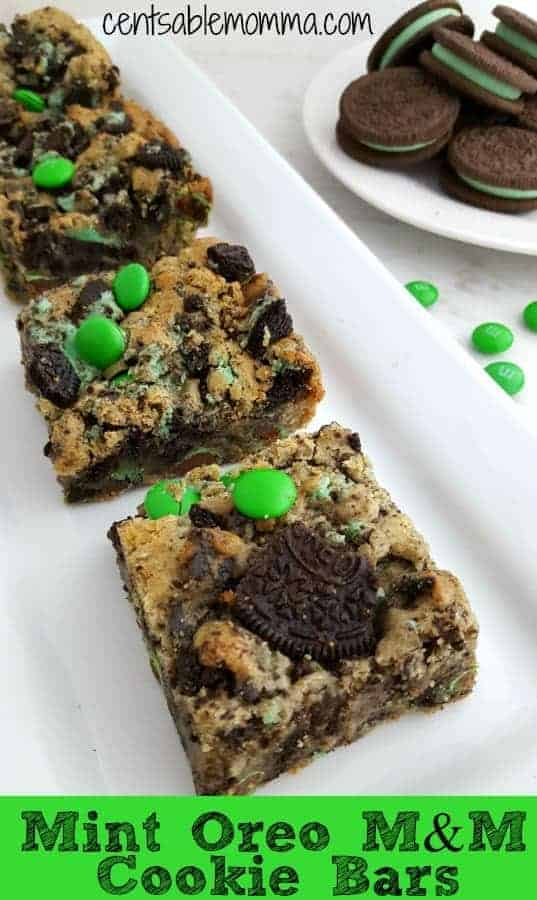 Add some minty fun to these Mint Oreo M&M Cookie Bars with both mint Oreos and green M&M's.  They're a perfect treat for St. Patrick's Day or Christmas, or you can substitute with regular M&M's and Oreos for everyday flavor.