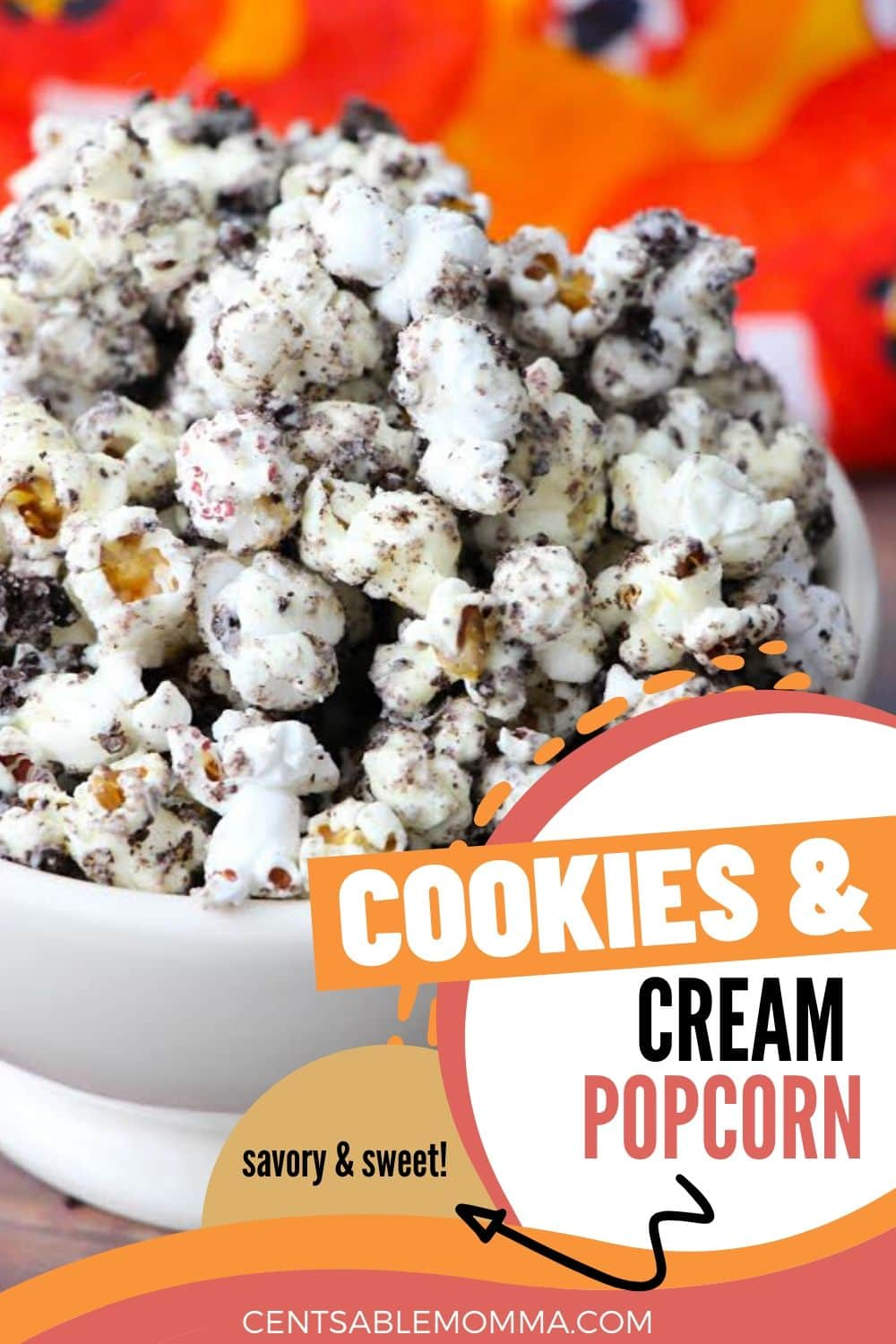 cookies and cream popcorn in a white bowl