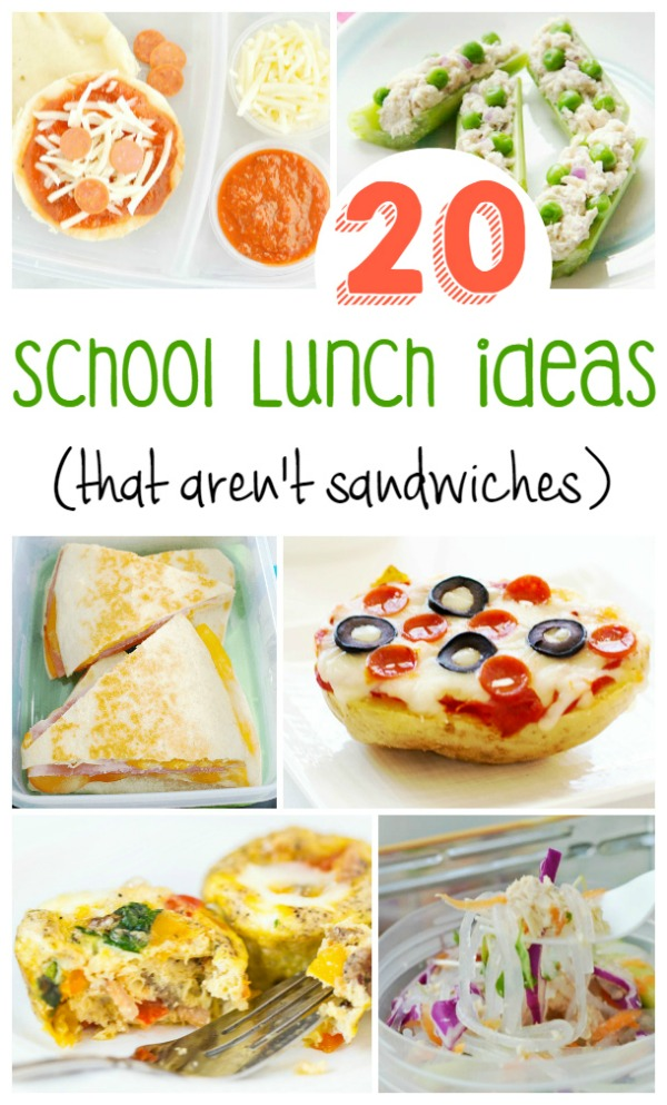Need some inspiration for school lunch? Check out these 20 school lunch ideas {that aren't sandwiches} for some ideas of what to pack when school starts back up again.