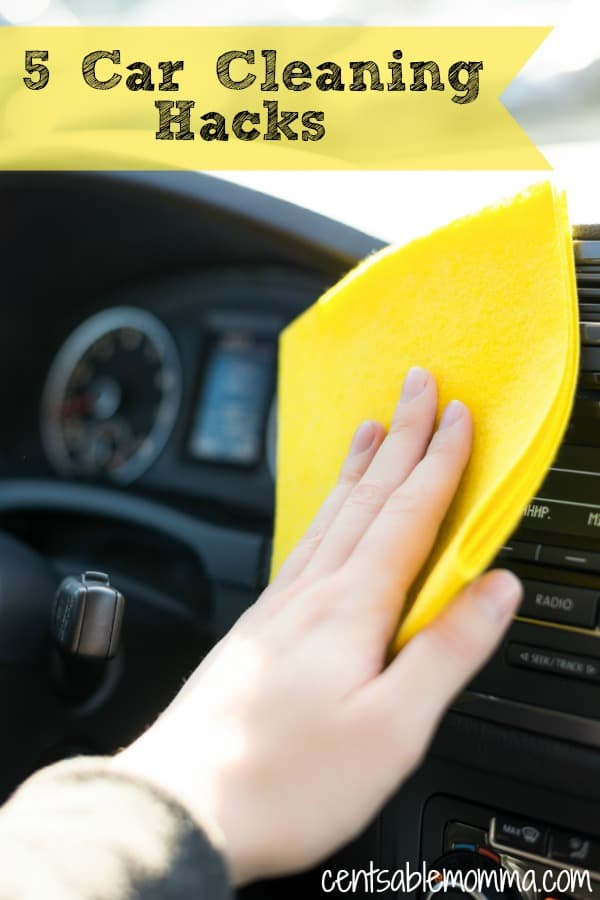 If your car is like mine, it's so difficult to keep it clean with kids.  Try these 5 car cleaning hacks for ideas on how to keep the interior of your car clean, including the seats and carpet.