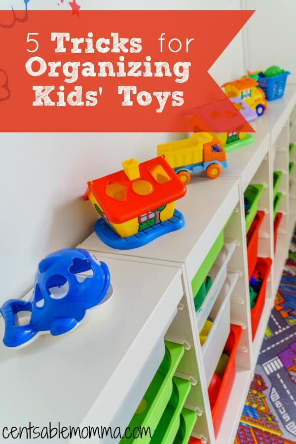 One of my pain points when my kids were younger was seeing their toys all over the place! If you need help organizing toys in your child's bedroom or even in your living room, you'll want to check out these 5 tricks for organizing kids' toys for some tips and ideas on the best ways to help you and your child store toys.