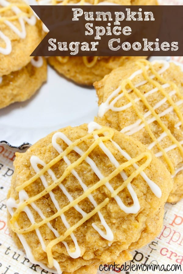 It will taste like fall with this Pumpkin Spice Sugar Cookie recipe made with pumpkin puree, pumpkin spice, and cinnamon plus sugar cookie ingredients.  Delicious!