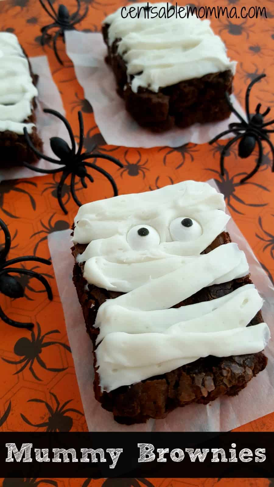 Easily create these Mummy Brownies with packaged brownie mix, a little frosting, and crazy candy eyes. Super fun, and perfect for serving at your Halloween party.