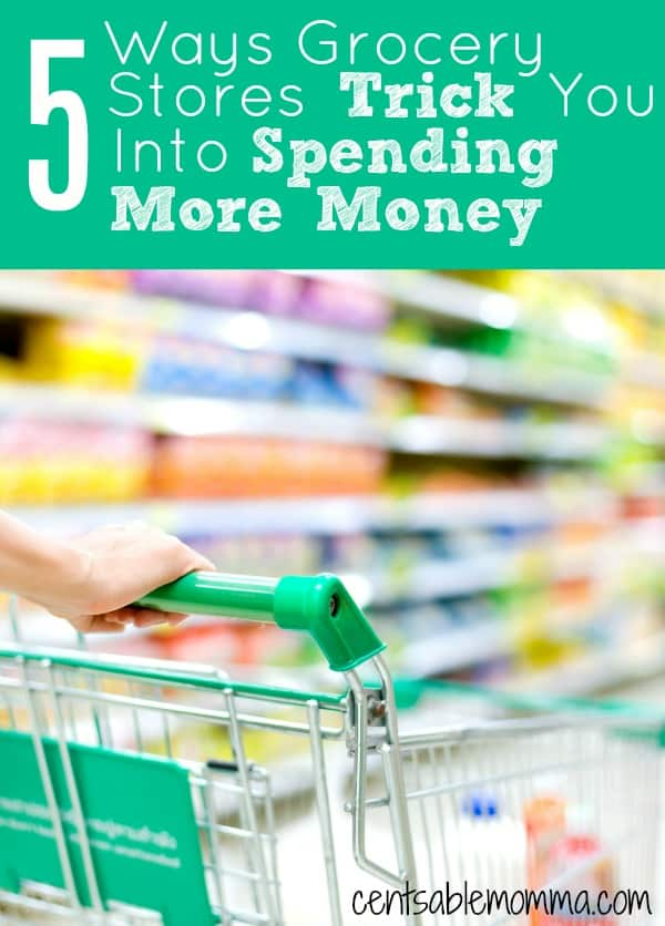 Do you want to cut your grocery spending budget but you're not exactly sure how?  Check out these 5 ways that grocery stores trick you into spending money for some tips on what to avoid at the store and lower your grocery spending.