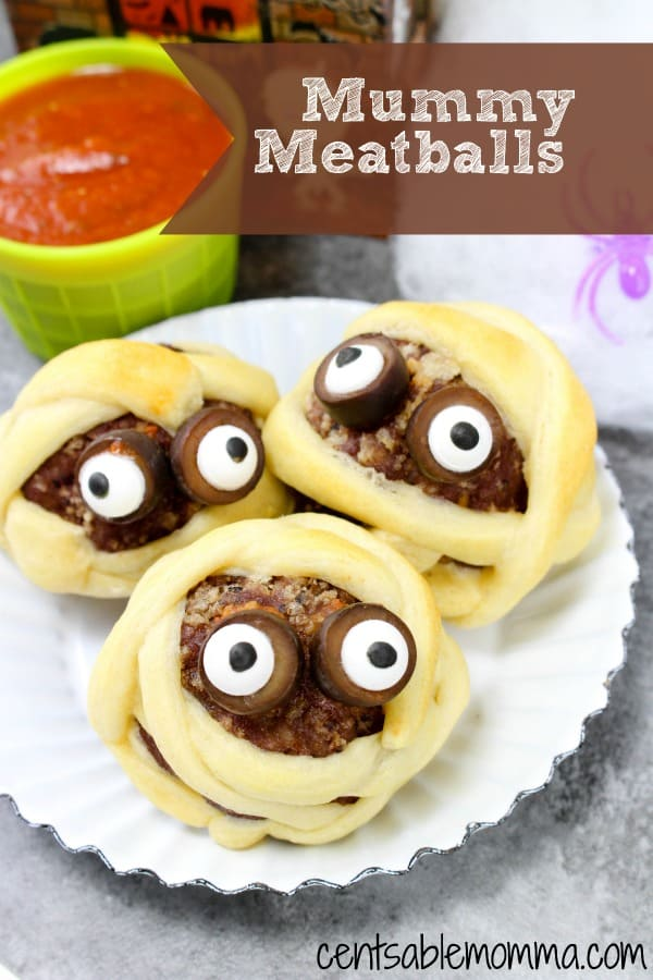 Easily create this fun Mummy Meatballs recipe with premade meatballs, crescent rolls, and a jar of marinara sauce.  They're great as a Halloween snack or even an activity for a Halloween party (and yummy too!).
