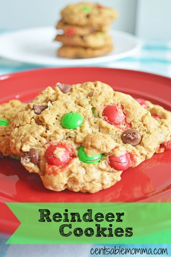 Easily create these fun play on Monster Cookies - Reindeer Cookies - made with holiday M&M's and perfect for a Christmas party, to leave on a plate for Santa, or even a holiday cookie exchange.
