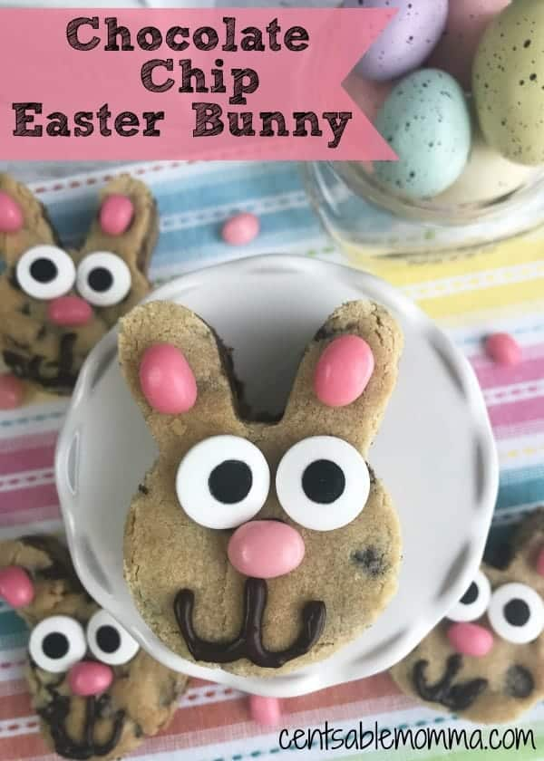 Easily create these super cute Chocolate Chip Easter Bunny Cookies from scratch.  Made using a bunny cookie cutter, jelly beans, crazy eye candies, and melted chocolate, they're perfect as an Easter snack or a fun activity for the kids to make.
