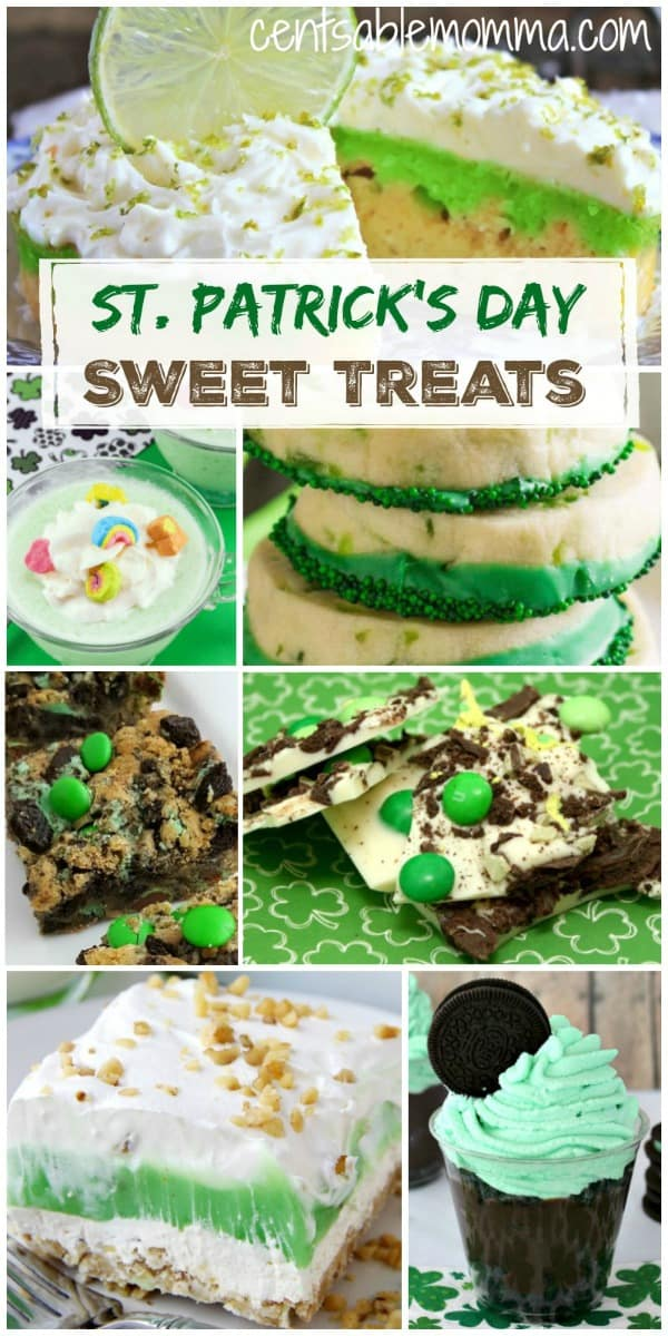 Create fun sweet treats and desserts for St. Patrick's Day with these great ideas ranging from mint to green to rainbow, and more.