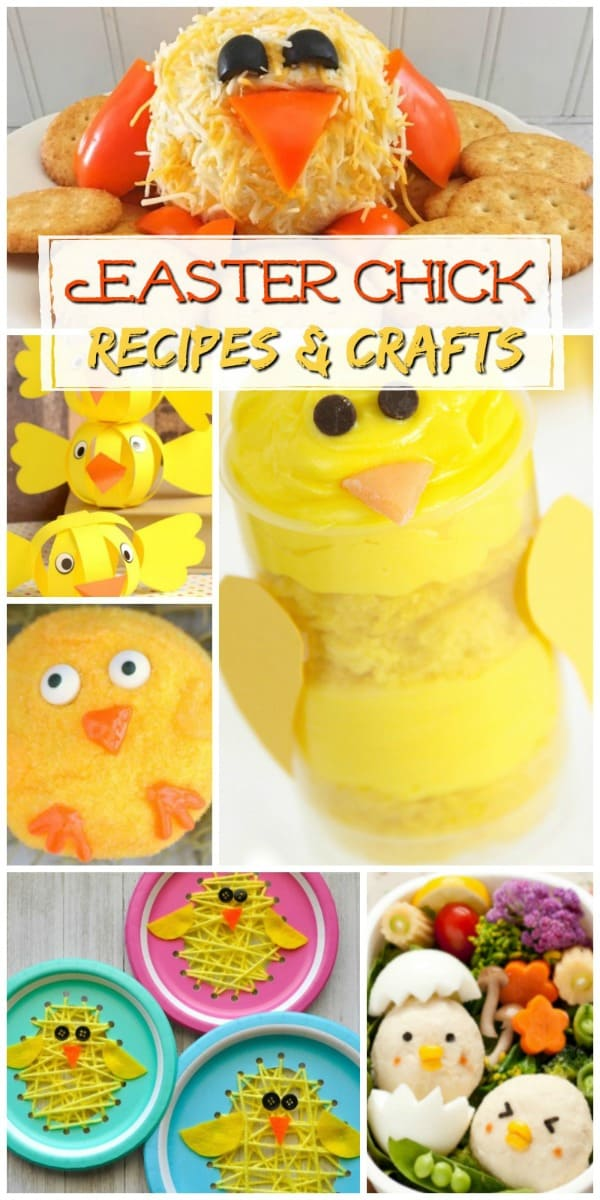 Celebrate spring and Easter with these adorable Easter Chick recipe and craft ideas - with ideas from cookie pops to a chick cheese ball to chick paper crafts.