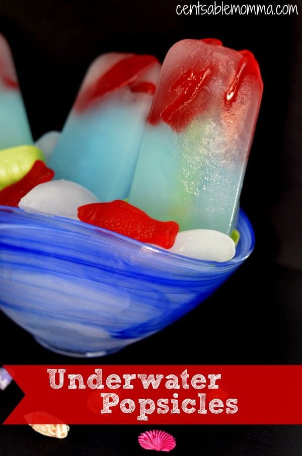 Easily create these fun Underwater Popsicles complete with fish swimming in the ocean using your own popsicle molds.  Perfect for the hot days of summer!