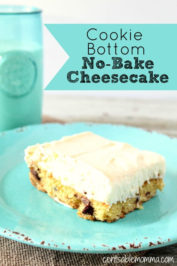 Mix my two favorite desserts - cheesecake and chocolate chip cookies - in this Cookie Bottom No-Bake Cheesecake recipe.