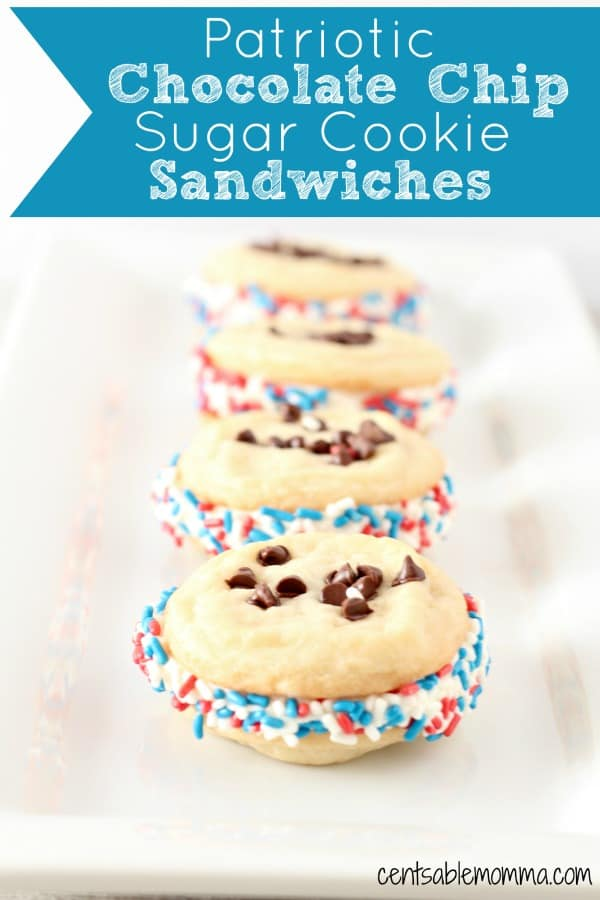 Easily create these delicious Patriotic Chocolate Chip Sugar Cookie Sandwiches with store bought sugar cookie dough and icing. You can roll the sandwiches in red, white, and blue sprinkles for a fun patriotic touch for the 4th of July.