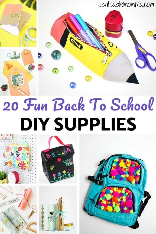 Just because you're trying to save money on school supplies doesn't mean that you can't have fun and unique back-to-school supplies!  Check out these 20 ideas for DIY school supply ideas to make your school supplies perfectly unique.