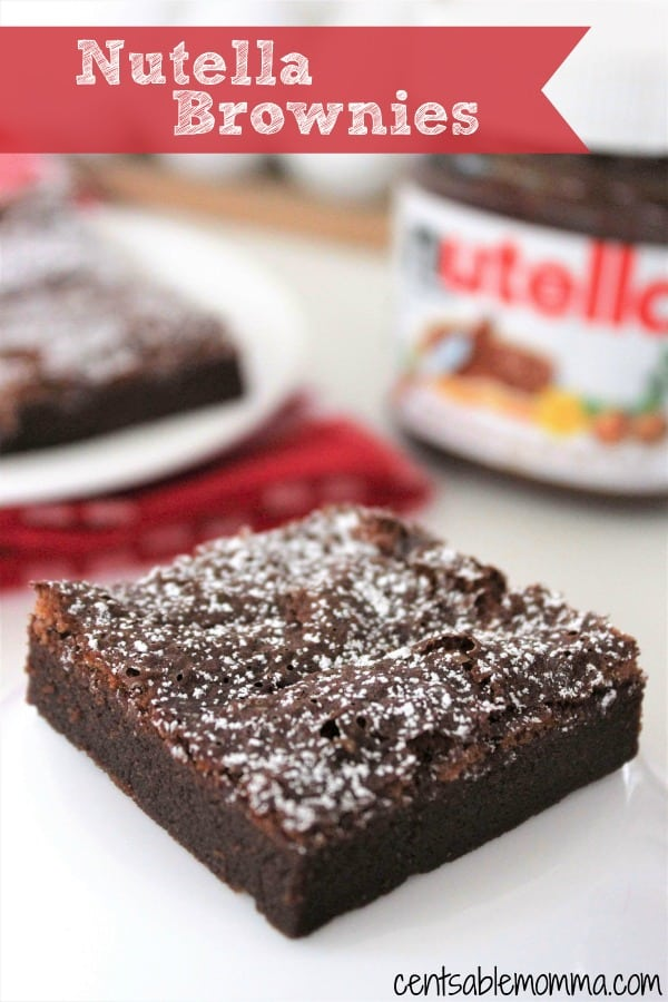 Just 3 ingredients needed for this yummy Nutella Brownie dessert recipe full of chocolate gooeyness. #dessert #recipe #chocolate