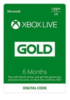 Xbox LIVE 6 Month Gold Membership Digital Code: $21 (47% off)