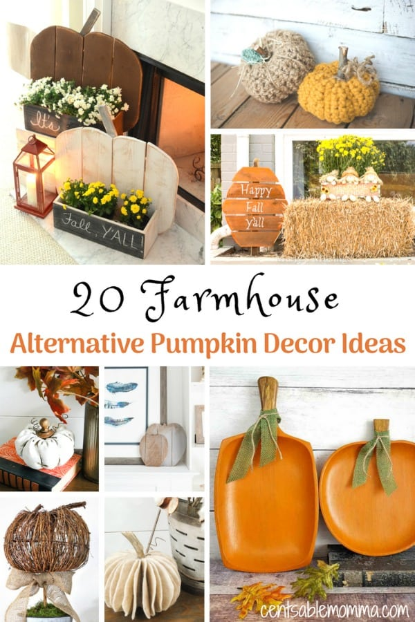 Create your own Farmhouse decorations perfect for fall, Halloween, and Thanksgiving with these 20 DIY Farmhouse Alternative Pumpkin Decor Ideas - so cute!