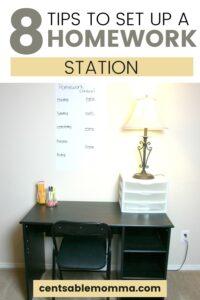desk set up as a homework station