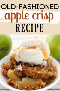 apple crisp in a bowl with vanilla ice cream on top