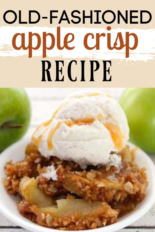 apple crisp in a bowl with vanilla ice cream on top