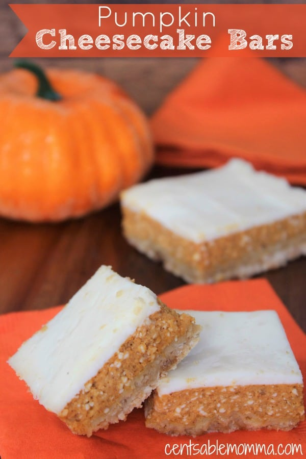 Fall equals all things pumpkin spice and these Pumpkin Cheesecake Bars won't disappoint with a crunchy crust and a soft pumpkin cheesecake layer topped with a sour cream frosting. Yum - perfect as a fall dessert!
