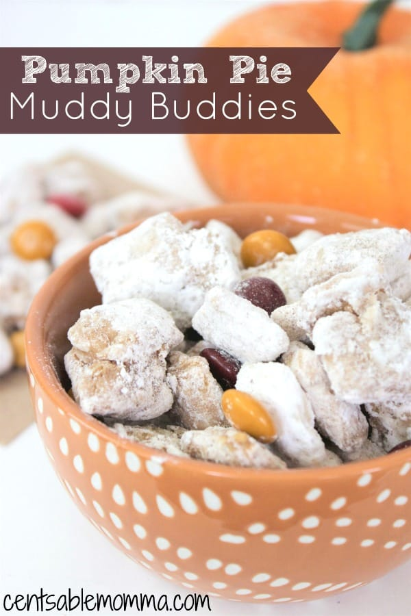 Muddy Buddies are a fun snack to eat, and this Pumpkin Pie Muddy Buddy recipe is all about fall with a mixture of pumpkin puree and pumpkin spice mixed in with the Chex cereal, candy melts, and fall M&M's.  It both tastes good and looks cute for a fall themed party!