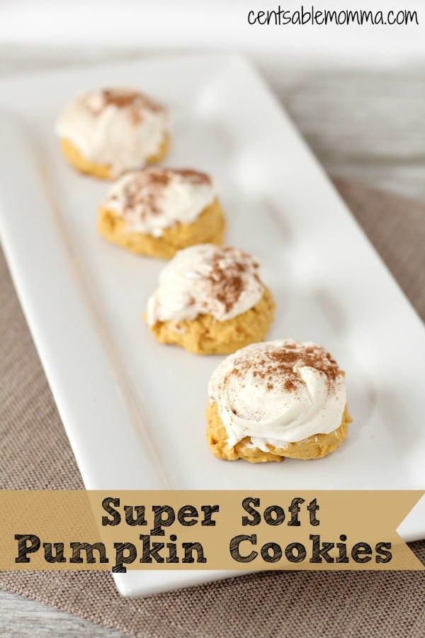 As the weather gets cooler, all I can think about is pumpkin everything - like these Super Soft Pumpkin Cookies.  Made with pumpkin pie filling, they are super soft and moist with a cream cheese frosting and hint of cinnamon.  They are perfect for enjoying on a fall day with some pumpkin spice coffee or as a dessert for Thanksgiving.